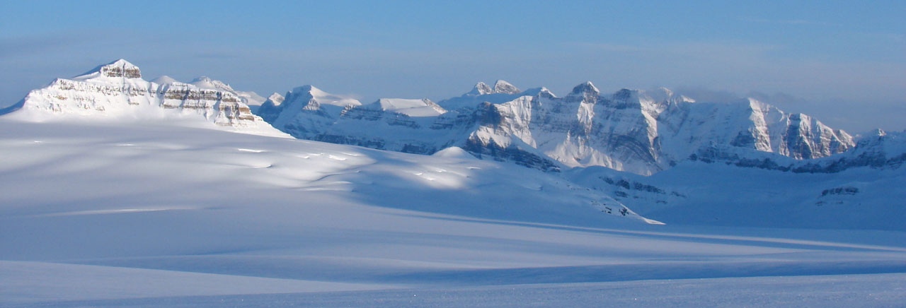 View from camp atop Columbia Icefield looking south, Castleguard Mountain at left