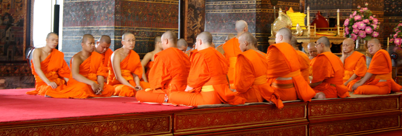 Monks in Wat Benchamabophit - The Marble Temple